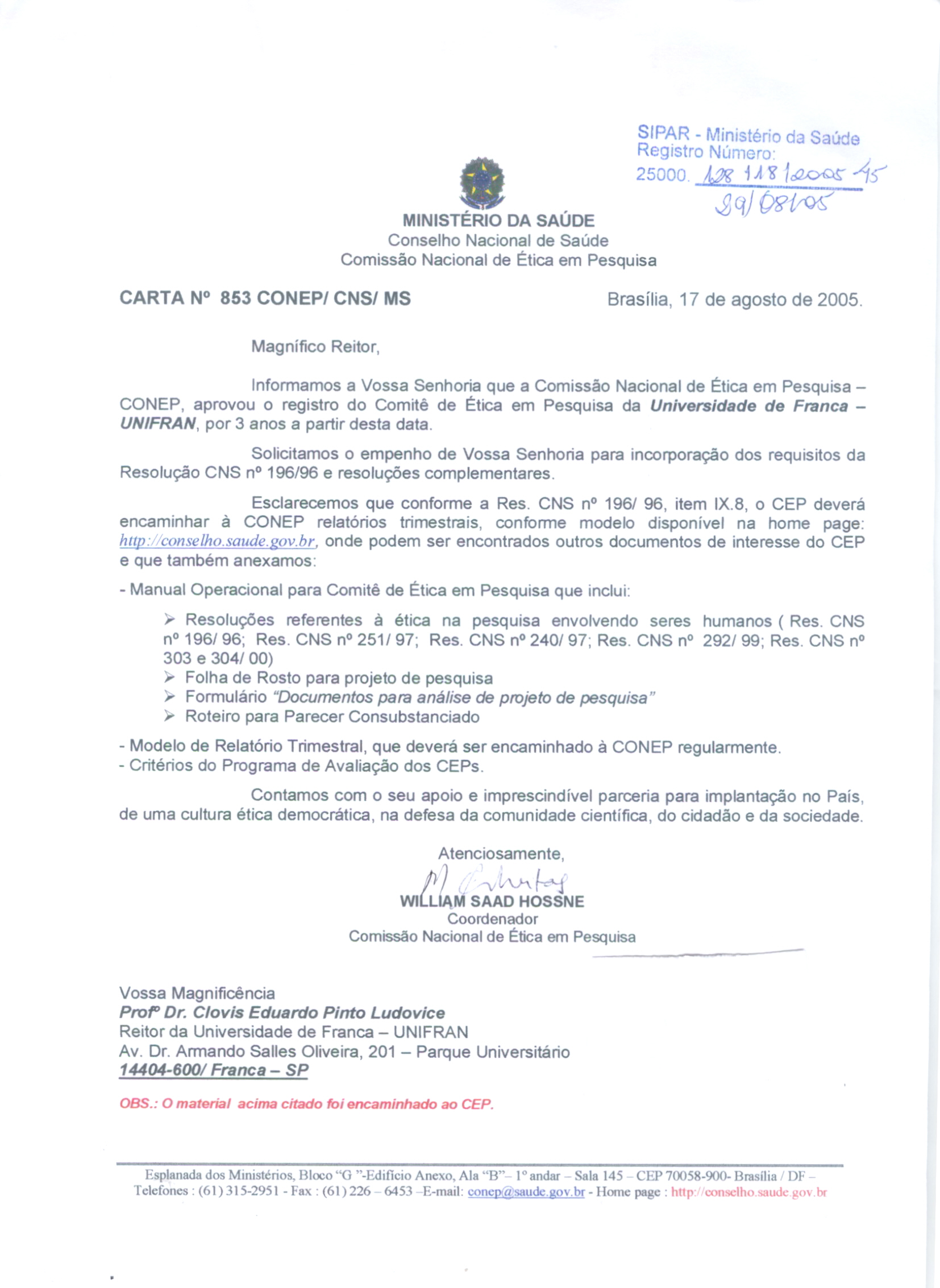 3b94e6facc83a Aprovação do registro do Comitê de Ética da Universidade de Franca